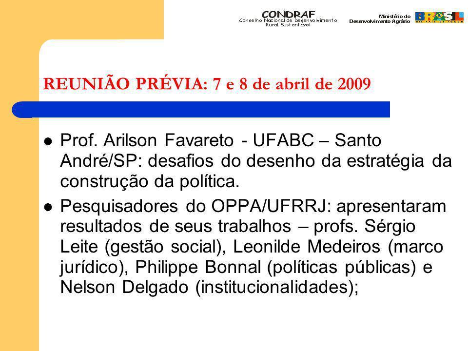 REUNIÃO PRÉVIA: 7 e 8 de abril de 2009 Prof.
