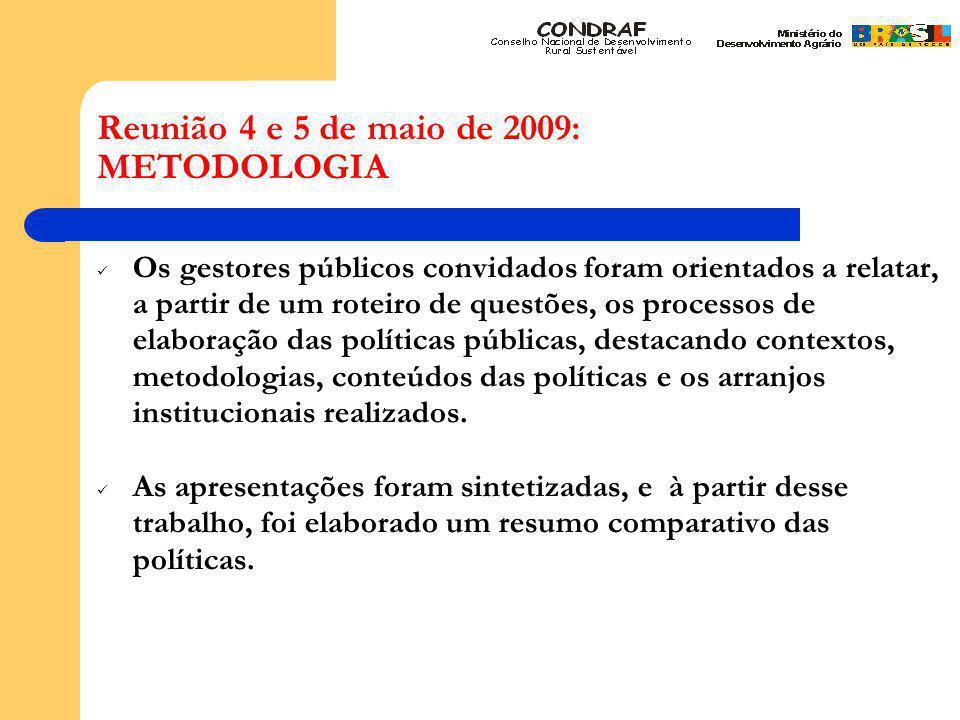 Reunião 4 e 5 de maio de 2009: METODOLOGIA Os gestores públicos convidados foram orientados a relatar, a partir de um roteiro de questões, os processos de elaboração das políticas públicas, destacando contextos, metodologias, conteúdos das políticas e os arranjos institucionais realizados.