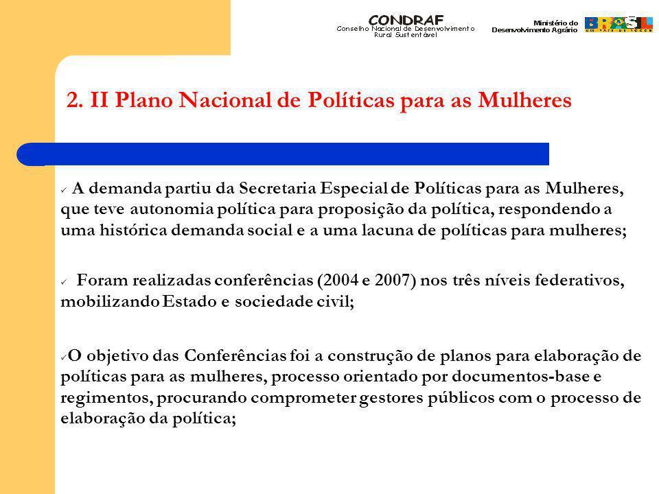2. II Plano Nacional de Políticas para as Mulheres A demanda partiu da Secretaria Especial de Políticas para as Mulheres, que teve autonomia política