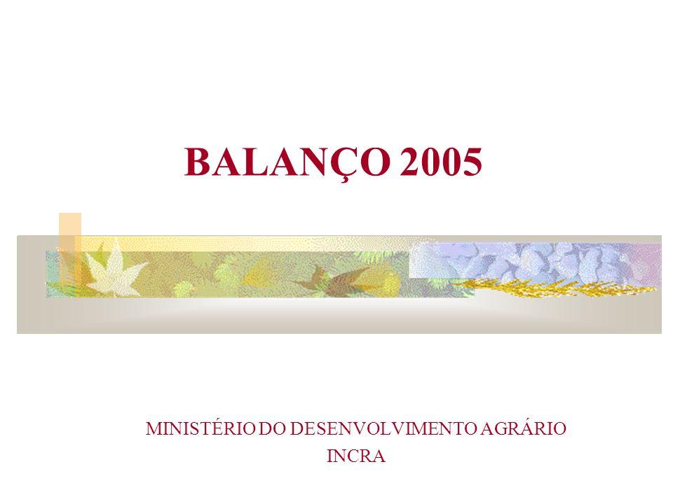 BALANÇO 2005 MINISTÉRIO DO DESENVOLVIMENTO AGRÁRIO INCRA