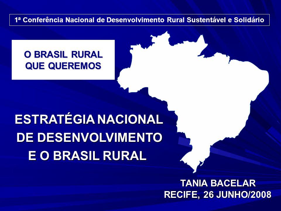 O BRASIL RURAL QUE QUEREMOS TANIA BACELAR RECIFE, 26 JUNHO/2008 1ª Conferência Nacional de Desenvolvimento Rural Sustentável e Solidário ESTRATÉGIA NACIONAL DE DESENVOLVIMENTO DE DESENVOLVIMENTO E O BRASIL RURAL