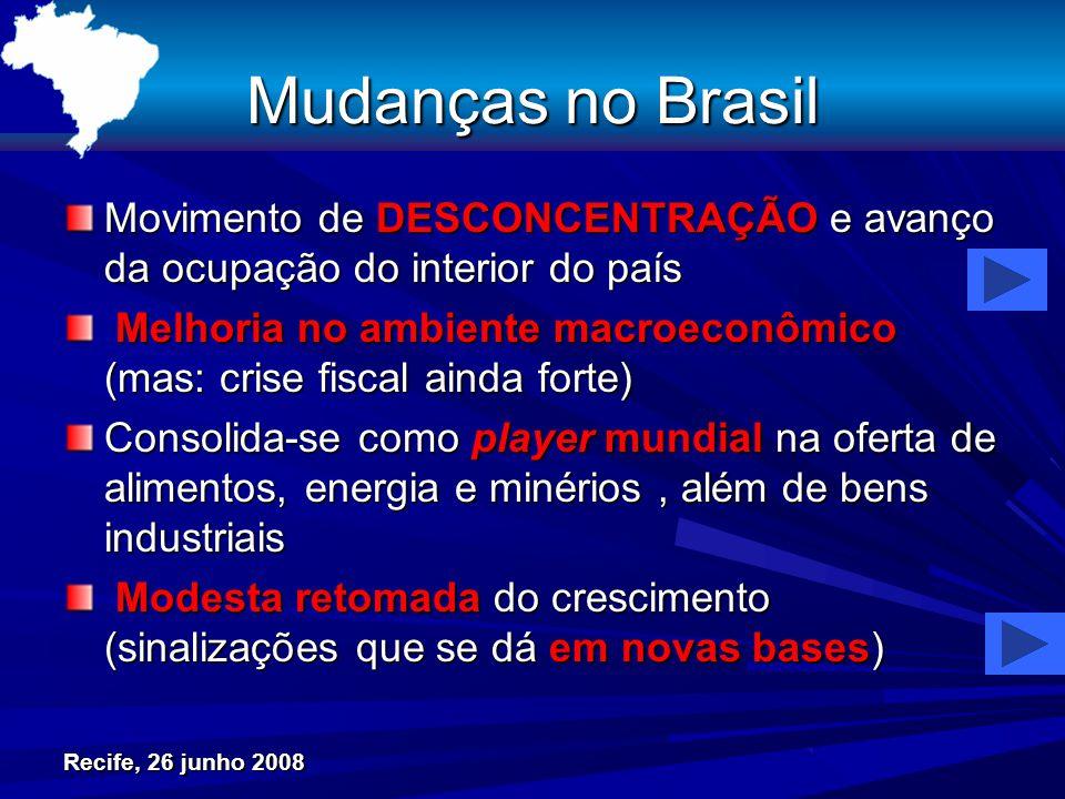 Mudanças no Brasil Movimento de DESCONCENTRAÇÃO e avanço da ocupação do interior do país Melhoria no ambiente macroeconômico (mas: crise fiscal ainda