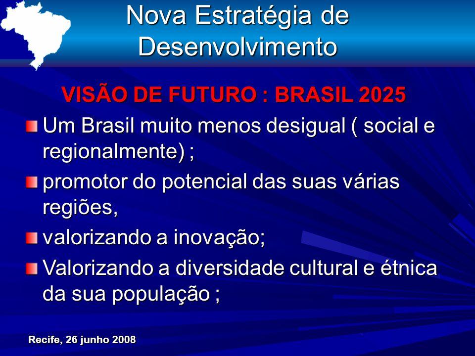 Recife, 26 junho 2008 Nova Estratégia de Desenvolvimento VISÃO DE FUTURO : BRASIL 2025 Um Brasil muito menos desigual ( social e regionalmente) ; promotor do potencial das suas várias regiões, valorizando a inovação; Valorizando a diversidade cultural e étnica da sua população ;