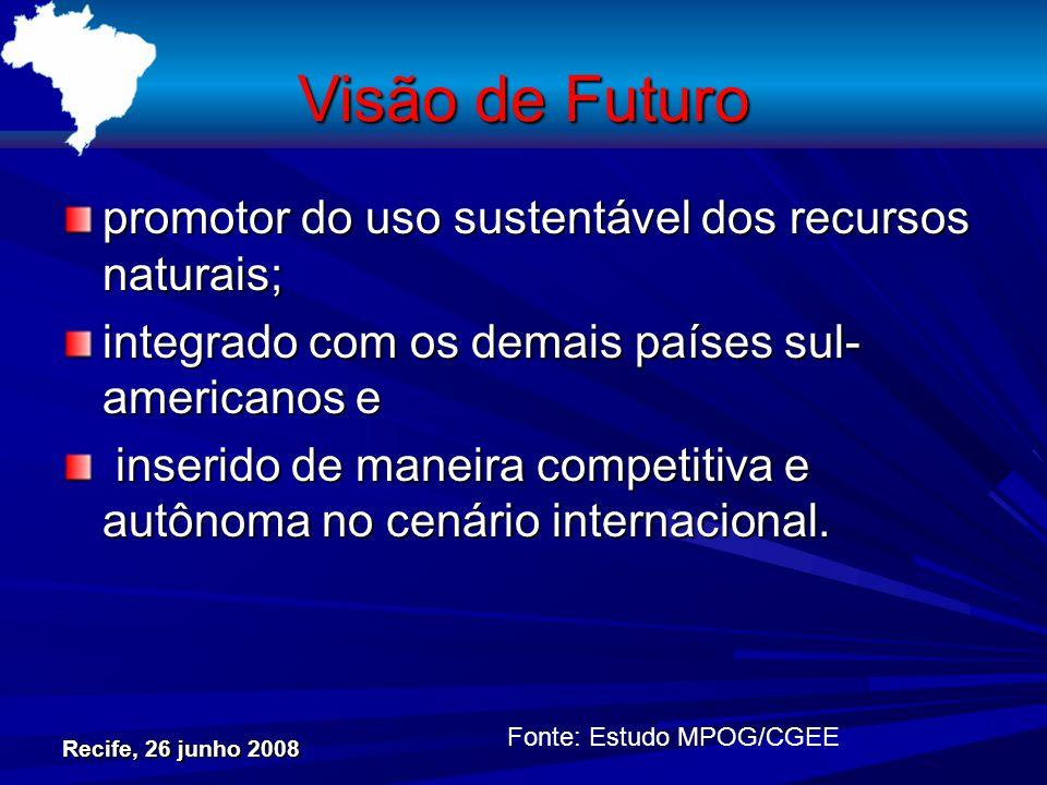 Visão de Futuro promotor do uso sustentável dos recursos naturais; integrado com os demais países sul- americanos e inserido de maneira competitiva e autônoma no cenário internacional.
