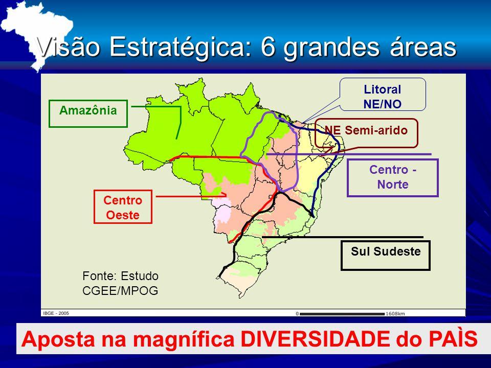 Visão Estratégica: 6 grandes áreas NE Semi-arido Litoral NE/NO Centro Oeste Sul Sudeste Amazônia Aposta na magnífica DIVERSIDADE do PAÌS Centro - Norte Fonte: Estudo CGEE/MPOG