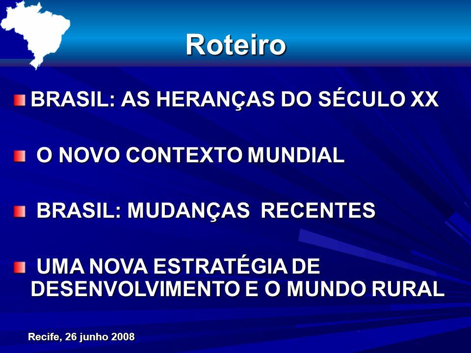 Recife, 26 junho 2008 Roteiro BRASIL: AS HERANÇAS DO SÉCULO XX O NOVO CONTEXTO MUNDIAL O NOVO CONTEXTO MUNDIAL BRASIL: MUDANÇAS RECENTES BRASIL: MUDAN