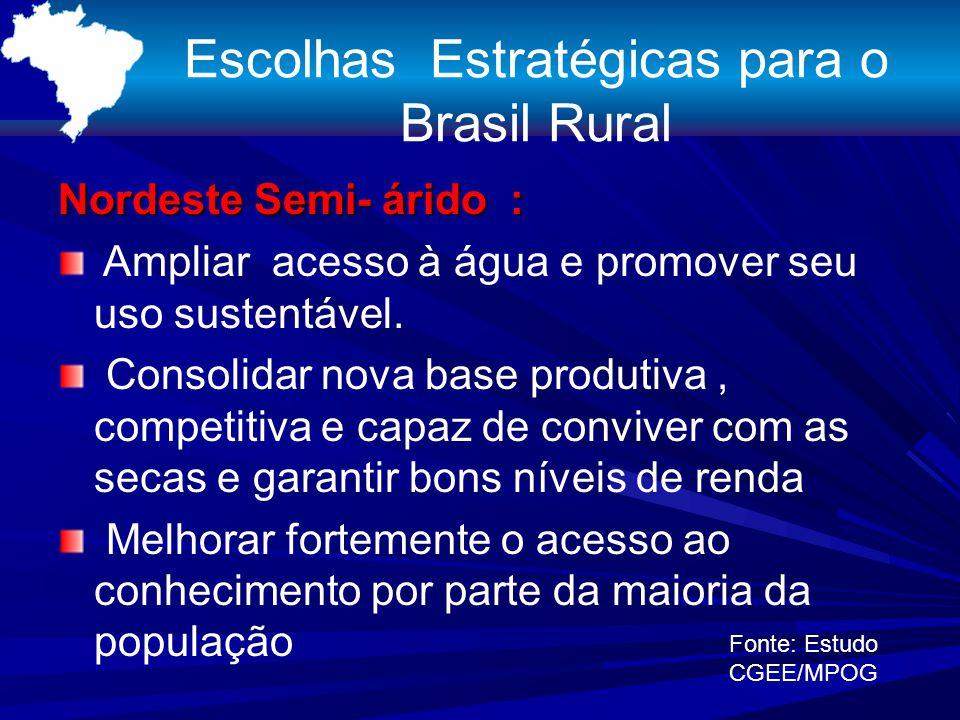 Escolhas Estratégicas para o Brasil Rural Nordeste Semi- árido : Ampliar acesso à água e promover seu uso sustentável. Consolidar nova base produtiva,