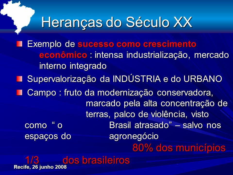 Recife, 26 junho 2008 Heranças do Século XX Exemplo de sucesso como crescimento econômico : intensa industrialização, mercado interno integrado Exempl