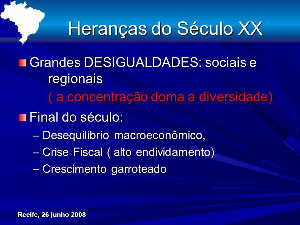 Heranças do Século XX Grandes DESIGUALDADES: sociais e regionais ( a concentração doma a diversidade) Final do século: –Desequilíbrio macroeconômico, –Crise Fiscal ( alto endividamento) –Crescimento garroteado Recife, 26 junho 2008
