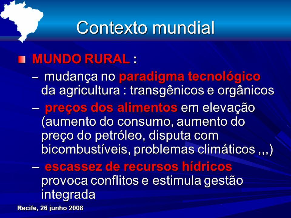 Recife, 26 junho 2008 Contexto mundial MUNDO RURAL : MUNDO RURAL : – mudança no paradigma tecnológico da agricultura : transgênicos e orgânicos – preç