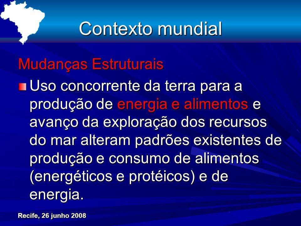 Contexto mundial Mudanças Estruturais Uso concorrente da terra para a produção de energia e alimentos e avanço da exploração dos recursos do mar alteram padrões existentes de produção e consumo de alimentos (energéticos e protéicos) e de energia.