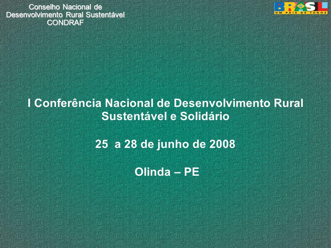Conselho Nacional de Desenvolvimento Rural Sustentável CONDRAF I Conferência Nacional de Desenvolvimento Rural Sustentável e Solidário 25 a 28 de junho de 2008 Olinda – PE