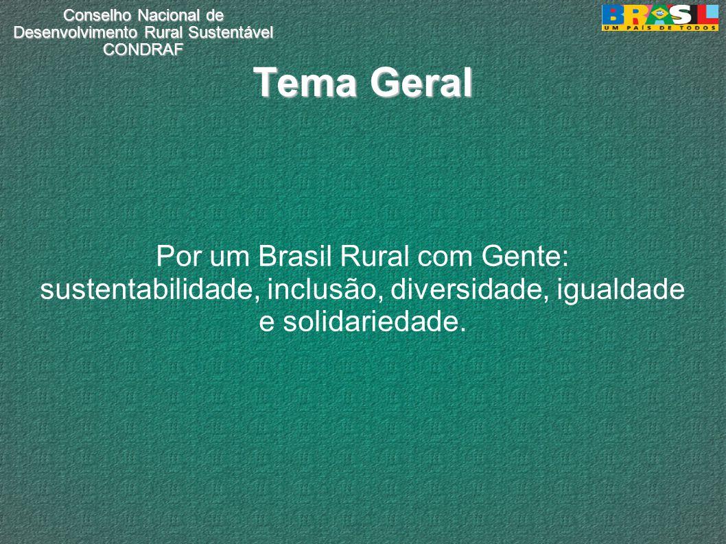 Conselho Nacional de Desenvolvimento Rural Sustentável CONDRAF Tema Geral Por um Brasil Rural com Gente: sustentabilidade, inclusão, diversidade, igualdade e solidariedade.