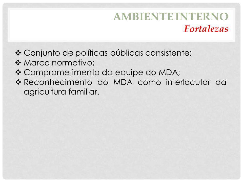 AMBIENTE INTERNO Fortalezas  Conjunto de políticas públicas consistente;  Marco normativo;  Comprometimento da equipe do MDA;  Reconhecimento do MDA como interlocutor da agricultura familiar.
