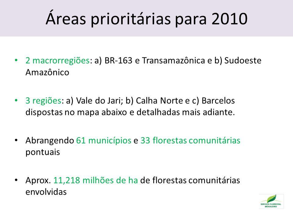 Áreas prioritárias para 2010 2 macrorregiões: a) BR-163 e Transamazônica e b) Sudoeste Amazônico 3 regiões: a) Vale do Jari; b) Calha Norte e c) Barcelos dispostas no mapa abaixo e detalhadas mais adiante.