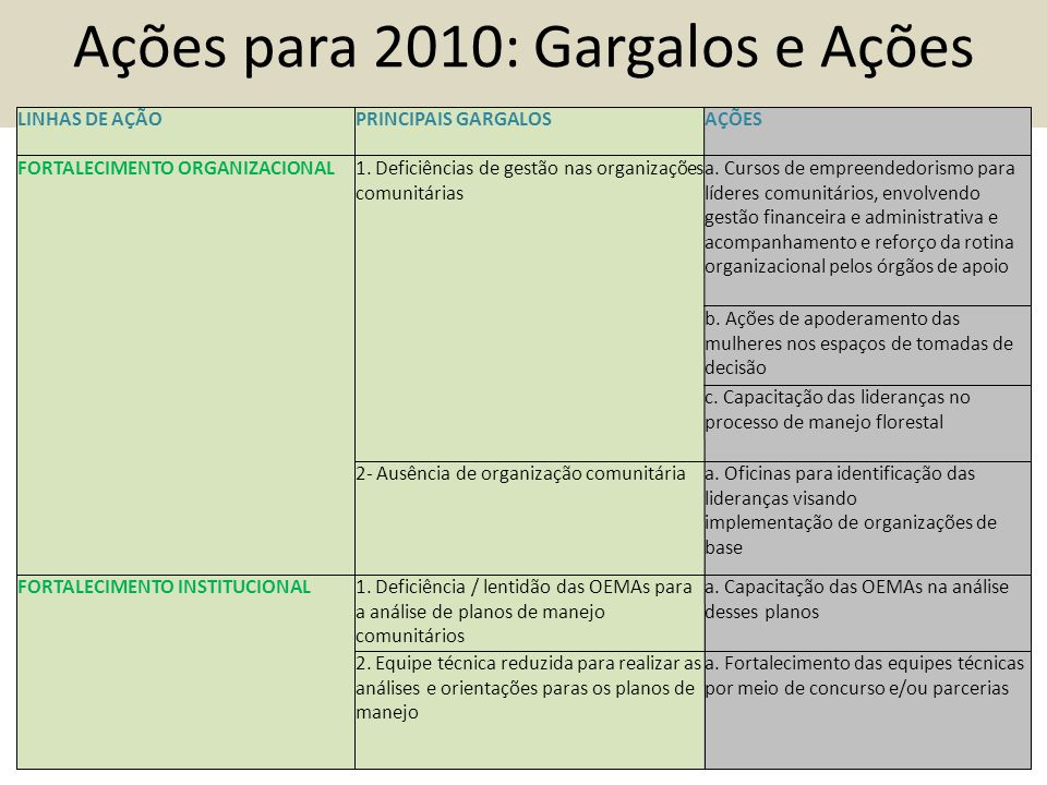 Ações para 2010: Gargalos e Ações LINHAS DE AÇÃOPRINCIPAIS GARGALOSAÇÕES FORTALECIMENTO ORGANIZACIONAL1.