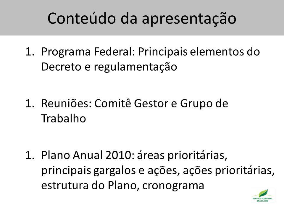 Áreas prioritárias para 2010 Critérios utilizados: Foco na Amazônia (91 % das florestas comunitárias brasileiras) Áreas com maior sobreposição dentre as áreas prioritárias dos diversos órgãos Concentração de manejadores florestais comunitários e familiares Arco do Desmatamento
