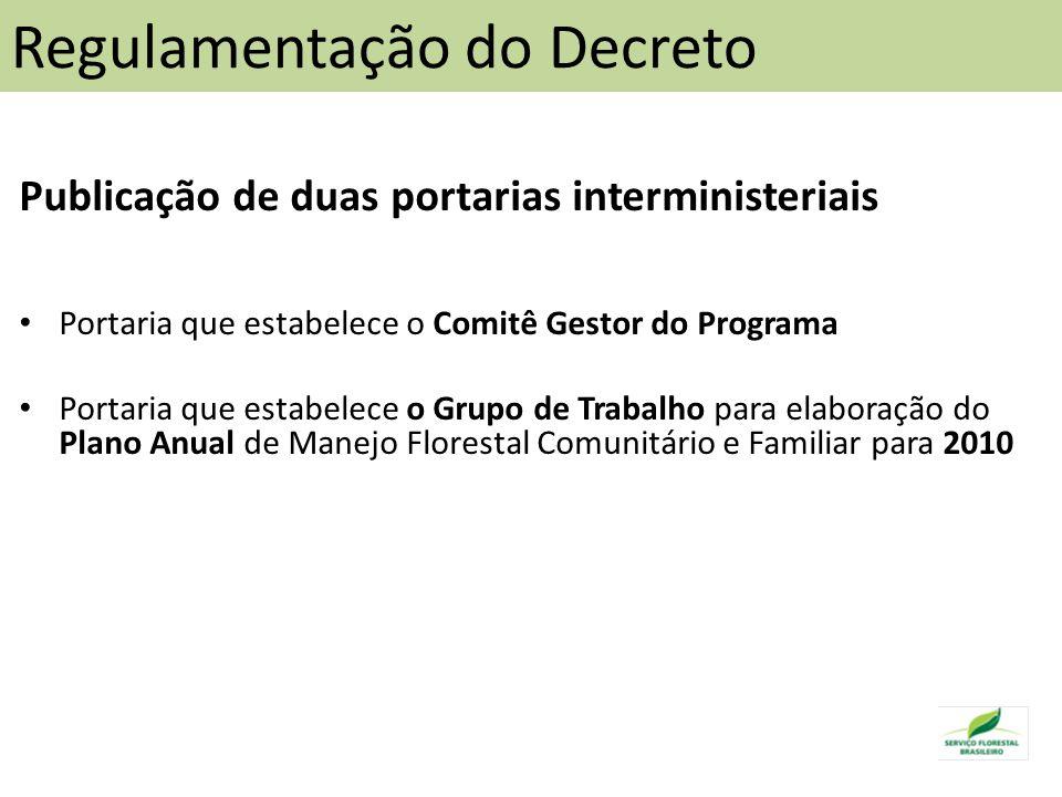 Publicação de duas portarias interministeriais Portaria que estabelece o Comitê Gestor do Programa Portaria que estabelece o Grupo de Trabalho para elaboração do Plano Anual de Manejo Florestal Comunitário e Familiar para 2010 Regulamentação do Decreto