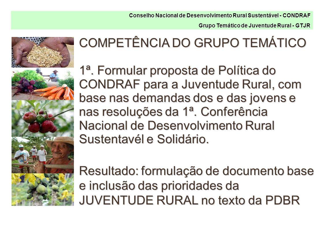 Conselho Nacional de Desenvolvimento Rural Sustentável - CONDRAF Grupo Temático de Juventude Rural - GTJR COMPETÊNCIA DO GRUPO TEMÁTICO 1ª.