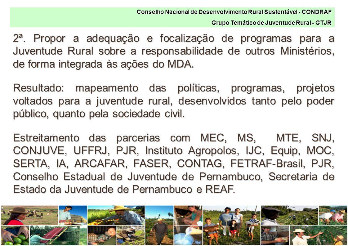 2ª. Propor a adequação e focalização de programas para a Juventude Rural sobre a responsabilidade de outros Ministérios, de forma integrada às ações d