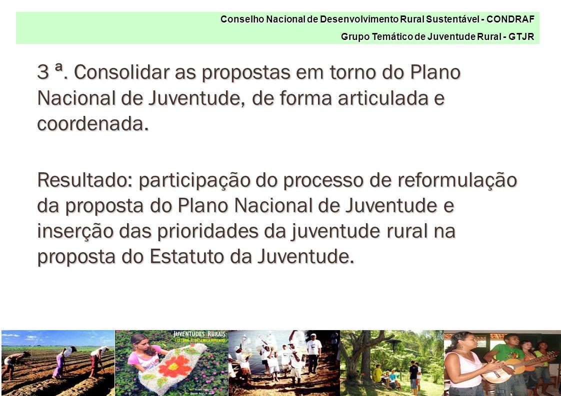 3 ª. Consolidar as propostas em torno do Plano Nacional de Juventude, de forma articulada e coordenada. Resultado: participação do processo de reformu