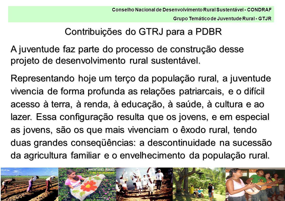 Conselho Nacional de Desenvolvimento Rural Sustentável - CONDRAF Grupo Temático de Juventude Rural - GTJR Contribuições do GTRJ para a PDBR A juventude faz parte do processo de construção desse projeto de desenvolvimento rural sustentável.