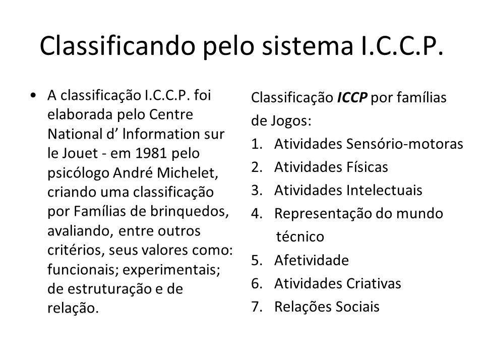 Classificando pelo sistema I.C.C.P. A classificação I.C.C.P. foi elaborada pelo Centre National d' lnformation sur le Jouet - em 1981 pelo psicólogo A