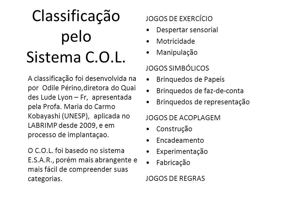 Classificação pelo Sistema C.O.L. A classificação foi desenvolvida na por Odile Périno,diretora do Quai des Lude Lyon – Fr, apresentada pela Profa. Ma