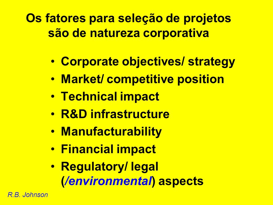 Research problem factors Priority Originality Clarity of objective Process factors Originality of approach Feasibility of solution Side-effects Group leadership Funding requirement Benefits if successful Scientific impact Economic effects Social welfare Academic value Seleção de projetos: ratings Xiao-Yin Jin.
