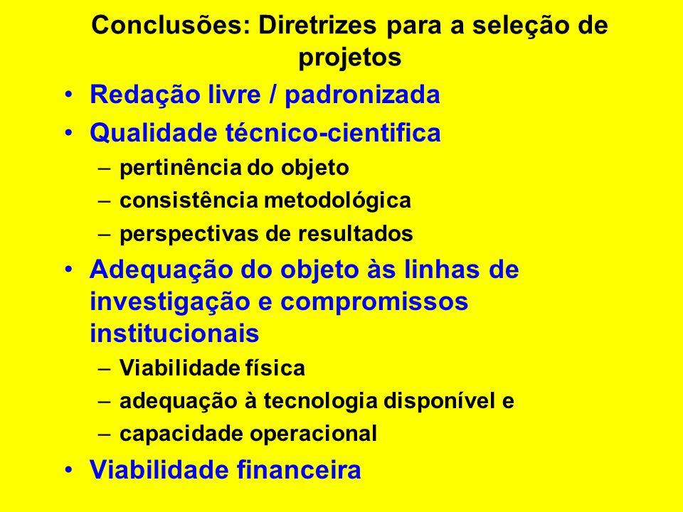 Conclusões: Geração de projetos Iniciativa do pesquisador –Balcão Solicitação institucional –Diretrizes estratégicas –Oportunidades tecnológicas –Competitividade mercadológica X processo produtivo –Competitividade mercadológica X concorrência