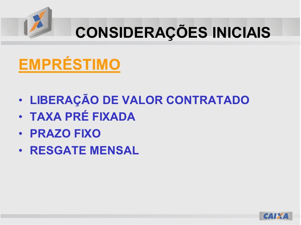 CONSIDERAÇÕES INICIAIS EMPRÉSTIMO LIBERAÇÃO DE VALOR CONTRATADO TAXA PRÉ FIXADA PRAZO FIXO RESGATE MENSAL