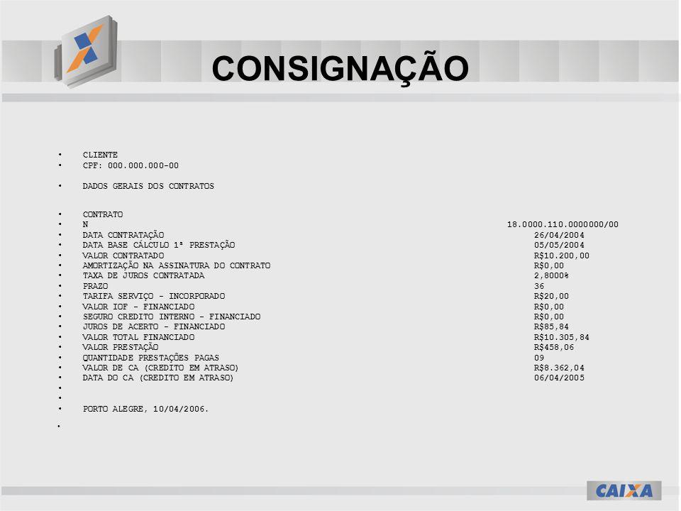 CONSIGNAÇÃO CLIENTE CPF: 000.000.000-00 DADOS GERAIS DOS CONTRATOS CONTRATO N 18.0000.110.0000000/00 DATA CONTRATAÇÃO 26/04/2004 DATA BASE CÁLCULO 1ª