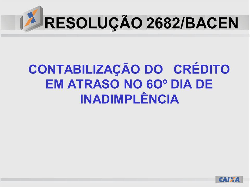RESOLUÇÃO 2682/BACEN CONTABILIZAÇÃO DO CRÉDITO EM ATRASO NO 6Oº DIA DE INADIMPLÊNCIA