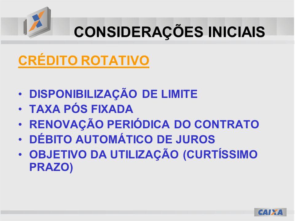 CONSIDERAÇÕES INICIAIS CRÉDITO ROTATIVO DISPONIBILIZAÇÃO DE LIMITE TAXA PÓS FIXADA RENOVAÇÃO PERIÓDICA DO CONTRATO DÉBITO AUTOMÁTICO DE JUROS OBJETIVO