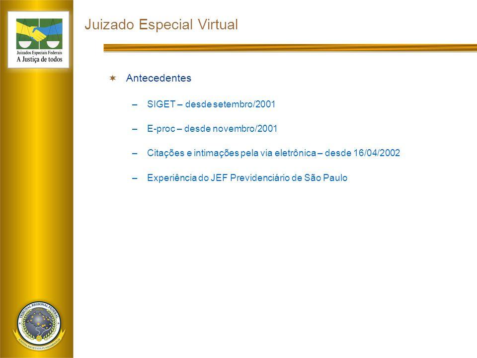 Juizado Especial Virtual  Antecedentes –SIGET – desde setembro/2001 –E-proc – desde novembro/2001 –Citações e intimações pela via eletrônica – desde 16/04/2002 –Experiência do JEF Previdenciário de São Paulo