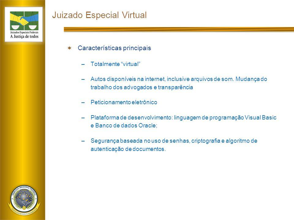 Juizado Especial Virtual  Características principais –Totalmente virtual –Autos disponíveis na internet, inclusive arquivos de som.
