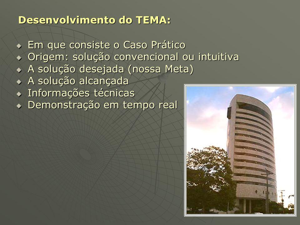 Desenvolvimento do TEMA:  Em que consiste o Caso Prático  Origem: solução convencional ou intuitiva  A solução desejada (nossa Meta)  A solução al