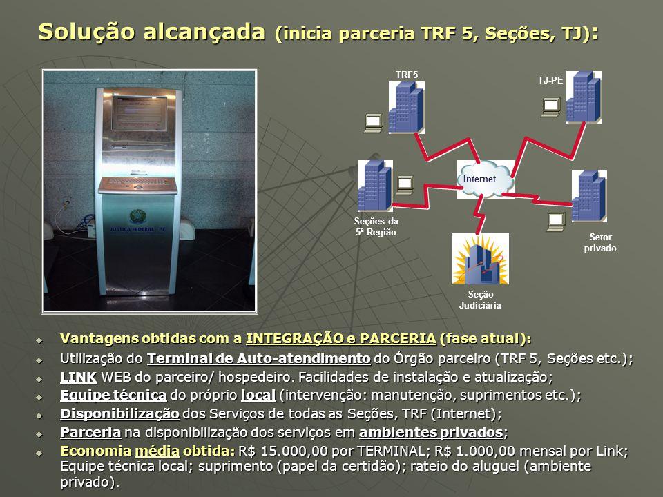 Internet Seção Judiciária  Vantagens obtidas com a INTEGRAÇÃO e PARCERIA (fase atual):  Utilização do Terminal de Auto-atendimento do Órgão parceiro