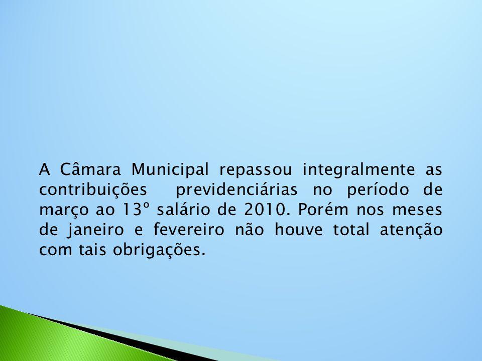 A Câmara Municipal repassou integralmente as contribuições previdenciárias no período de março ao 13º salário de 2010. Porém nos meses de janeiro e fe