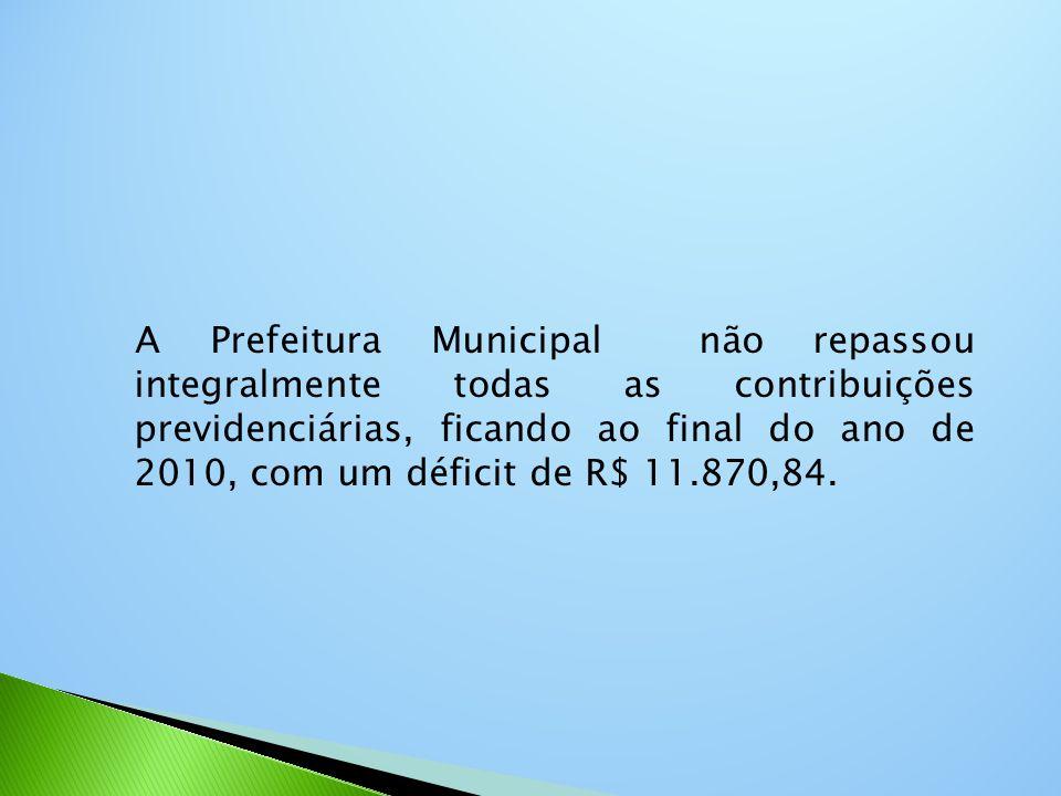 A Prefeitura Municipal não repassou integralmente todas as contribuições previdenciárias, ficando ao final do ano de 2010, com um déficit de R$ 11.870,84.