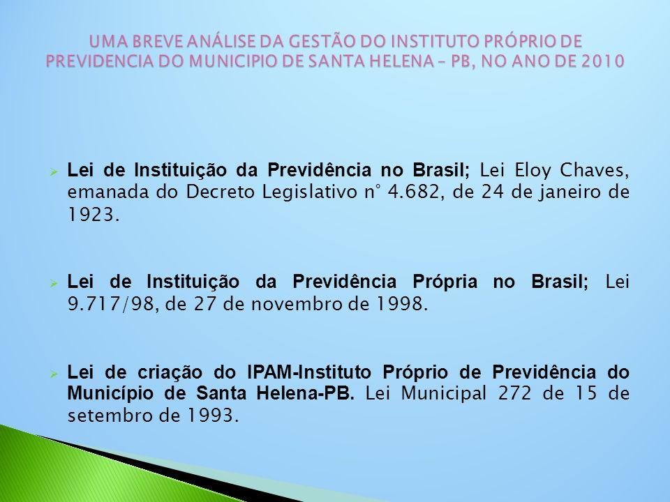  Lei de Instituição da Previdência no Brasil; Lei Eloy Chaves, emanada do Decreto Legislativo n° 4.682, de 24 de janeiro de 1923.  Lei de Instituiçã