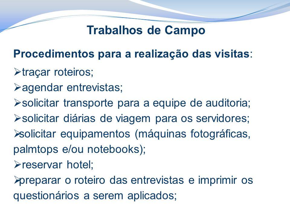 Trabalhos de Campo Procedimentos para a realização das visitas:  traçar roteiros;  agendar entrevistas;  solicitar transporte para a equipe de audi