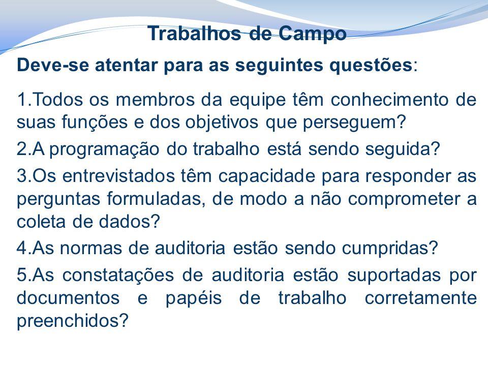 Trabalhos de Campo Deve-se atentar para as seguintes questões: 1.Todos os membros da equipe têm conhecimento de suas funções e dos objetivos que perseguem.