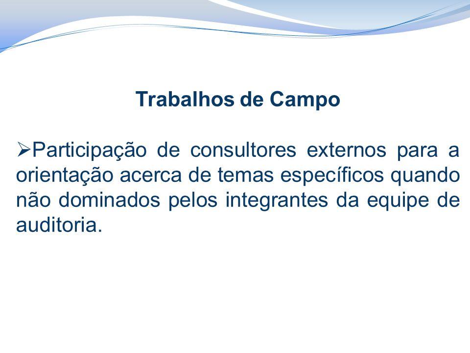 Trabalhos de Campo  Participação de consultores externos para a orientação acerca de temas específicos quando não dominados pelos integrantes da equipe de auditoria.