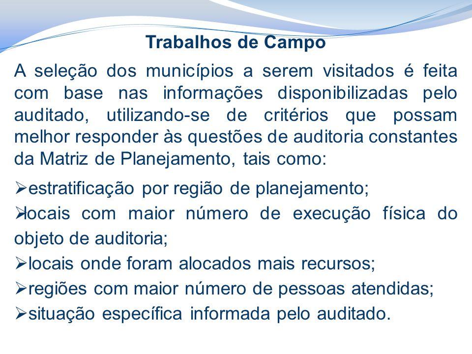 Trabalhos de Campo A seleção dos municípios a serem visitados é feita com base nas informações disponibilizadas pelo auditado, utilizando-se de critér