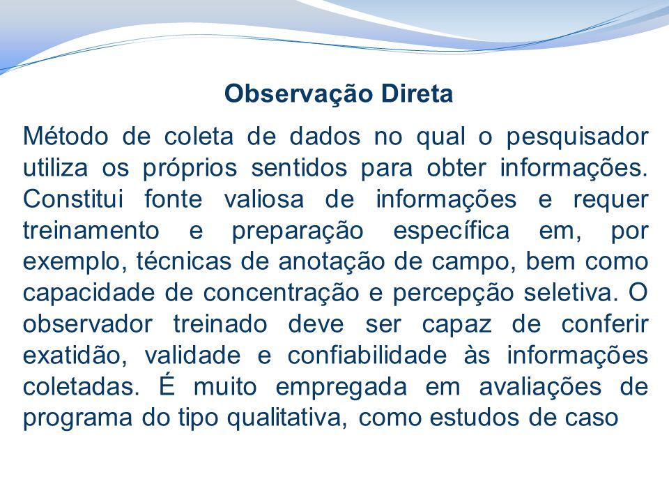 Observação Direta Método de coleta de dados no qual o pesquisador utiliza os próprios sentidos para obter informações.