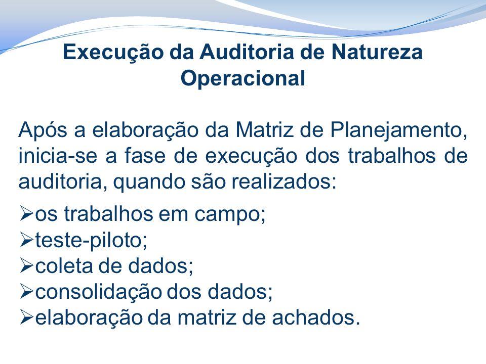 Execução da Auditoria de Natureza Operacional Após a elaboração da Matriz de Planejamento, inicia-se a fase de execução dos trabalhos de auditoria, quando são realizados:  os trabalhos em campo;  teste-piloto;  coleta de dados;  consolidação dos dados;  elaboração da matriz de achados.