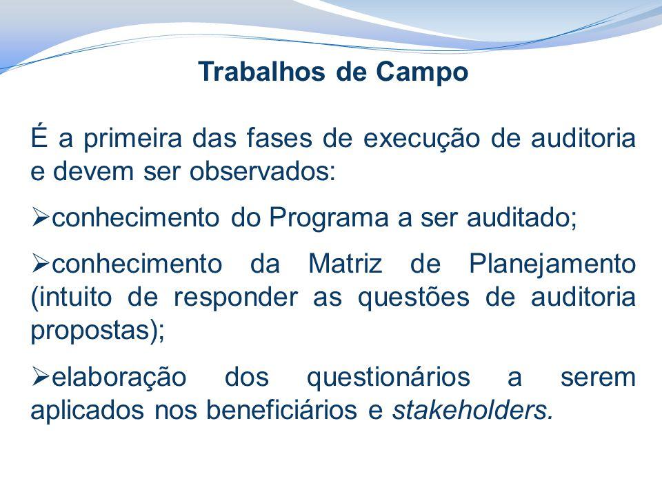 Trabalhos de Campo É a primeira das fases de execução de auditoria e devem ser observados:  conhecimento do Programa a ser auditado;  conhecimento d