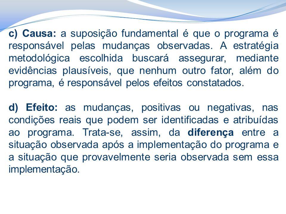 c) Causa: a suposição fundamental é que o programa é responsável pelas mudanças observadas. A estratégia metodológica escolhida buscará assegurar, med