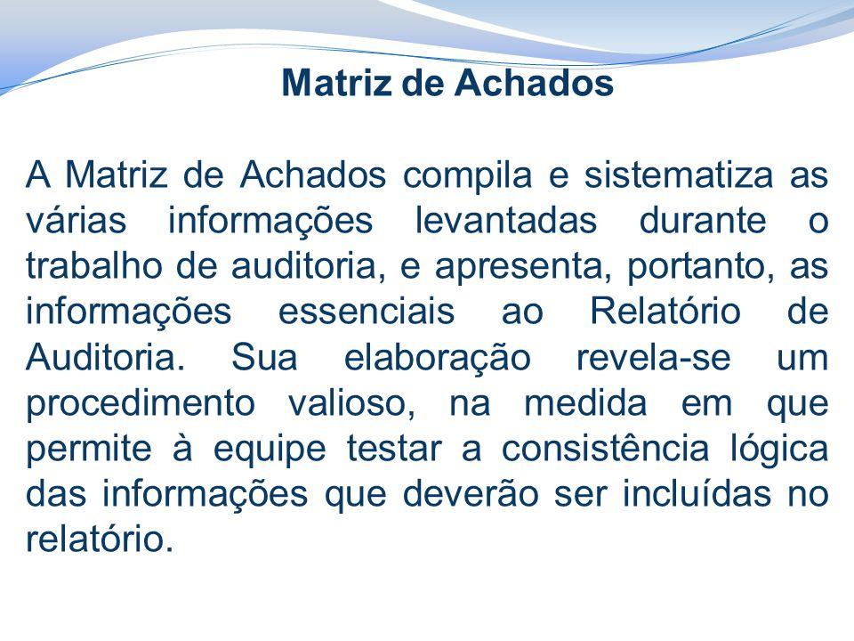 Matriz de Achados A Matriz de Achados compila e sistematiza as várias informações levantadas durante o trabalho de auditoria, e apresenta, portanto, as informações essenciais ao Relatório de Auditoria.